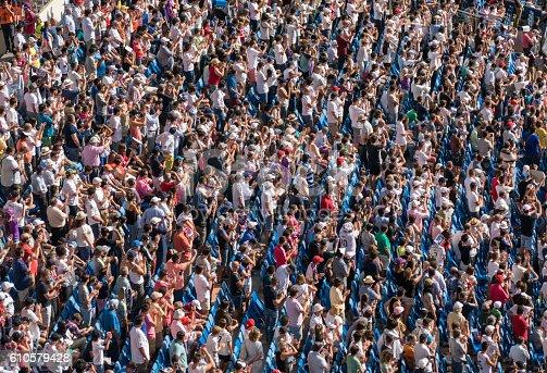 istock Huge crowd of spectators at a soccer stadium 610579428