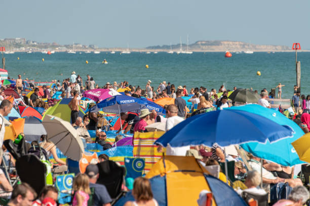 Huge crowds of people at the Bournemouth Air Festival stock photo