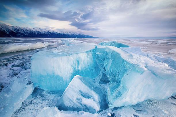 Huge cubes of ice on the frozen Lake Baikal stock photo