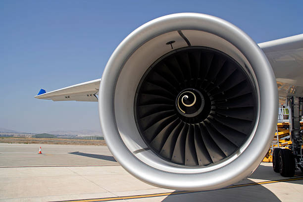 Huge engine of an aircraft on a runway stock photo