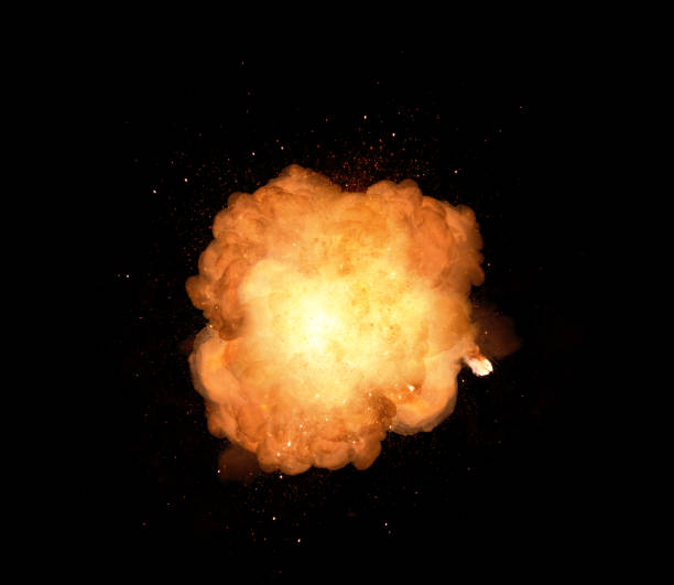 Huge, extremely hot explosion with sparks and hot smoke, against black background – zdjęcie