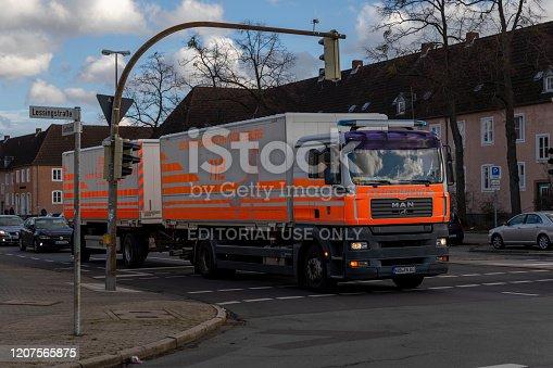 Wolfsburg, Germany - feg 17th 2020: Fire departement in Wolfsburg has bigger fire trucks at their disposal.