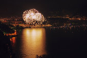 huge fireworks at swiss national holiday 1 august