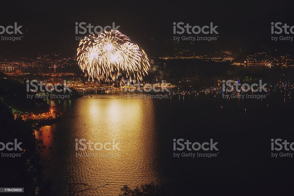 huge fireworks at swiss national holiday 1 august stock photo