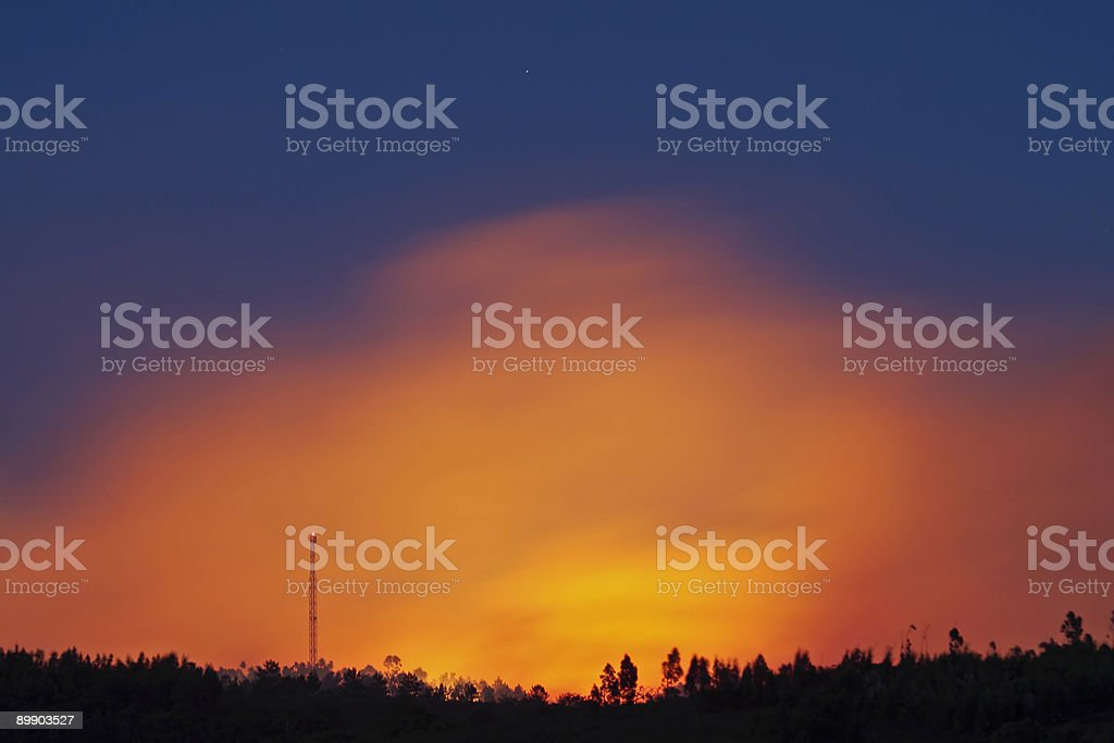 Huge forest fire at twilight royalty-free stock photo