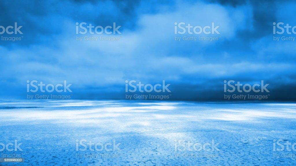 huge frozen lake (blue 3d illustration) stock photo