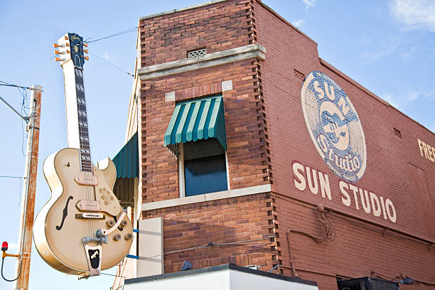 Huge Gibson guitar outside Sun Studio, Memphis, Tennessee, USA