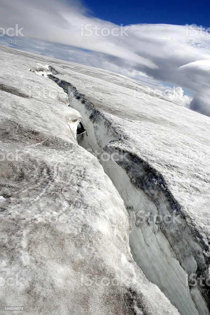 Huge glacier crack royalty-free stock photo