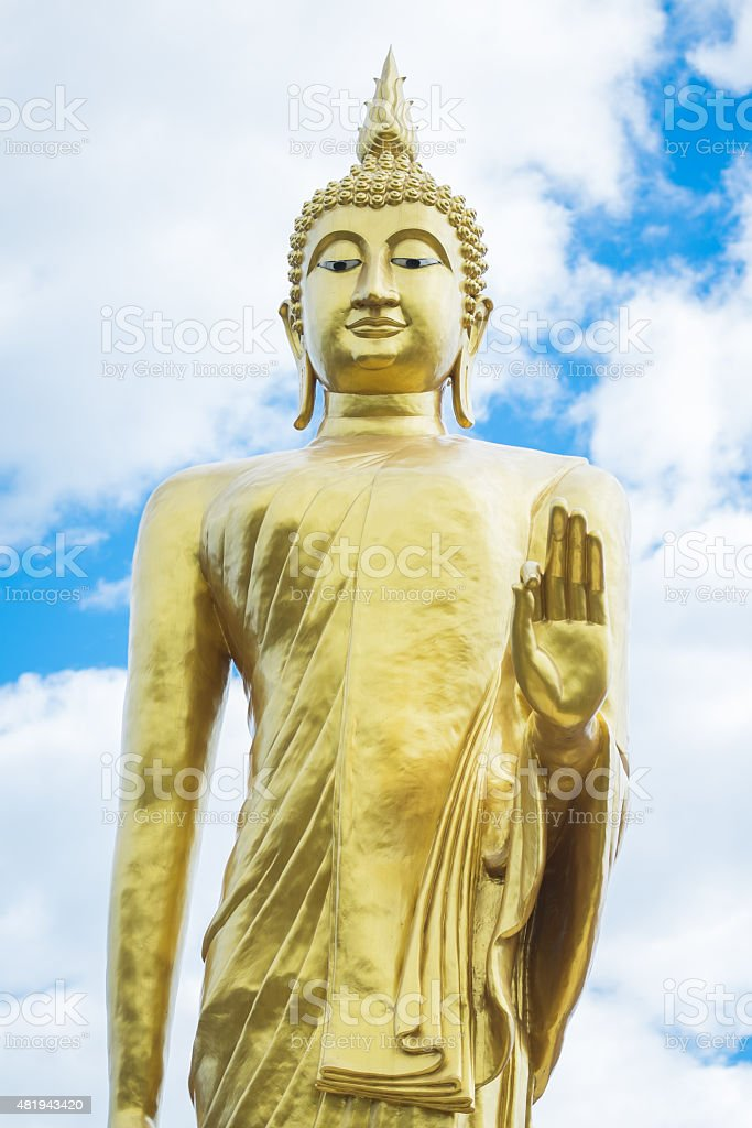 Huge golden of Buddha statue stock photo