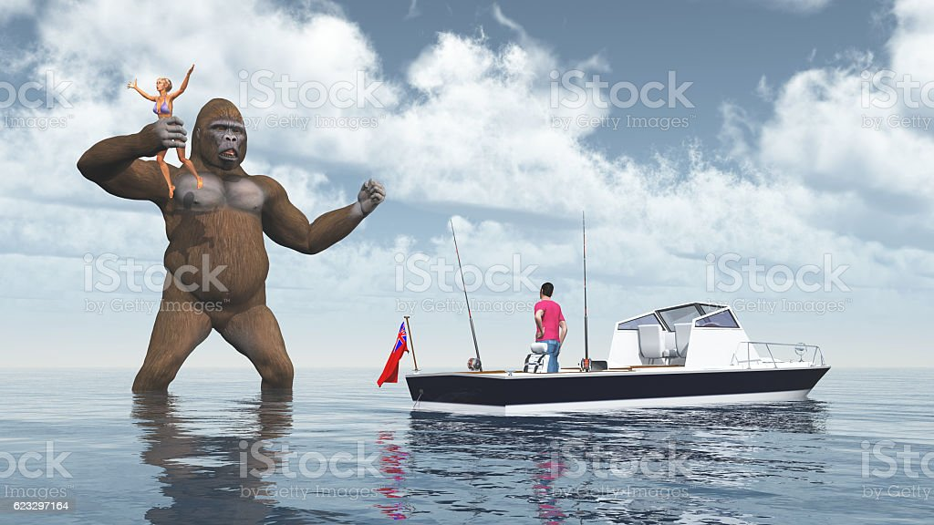Huge gorilla and woman in his hand stock photo