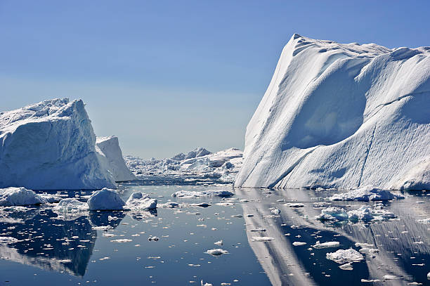 Huge iceberg in the Jacobshavn icefjord, Greenland stock photo