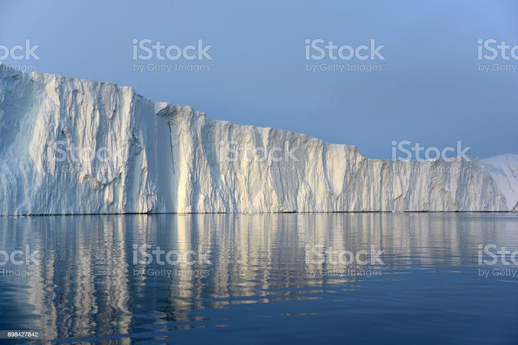 Huge Icebergs in Arctic Ocean, Greenland stock photo
