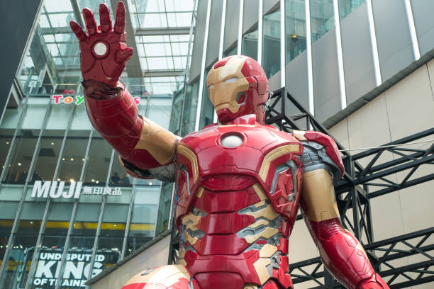 A huge Iron man statue display at the KL Pavilion, there is the Marvel Studios Ten Years of Heroes exhibit in Malaysia. stock photo