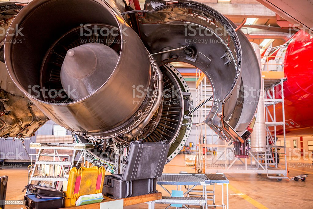 Huge jet engine in service stock photo