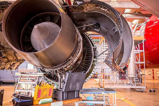 Huge jet engine in service stock photo
