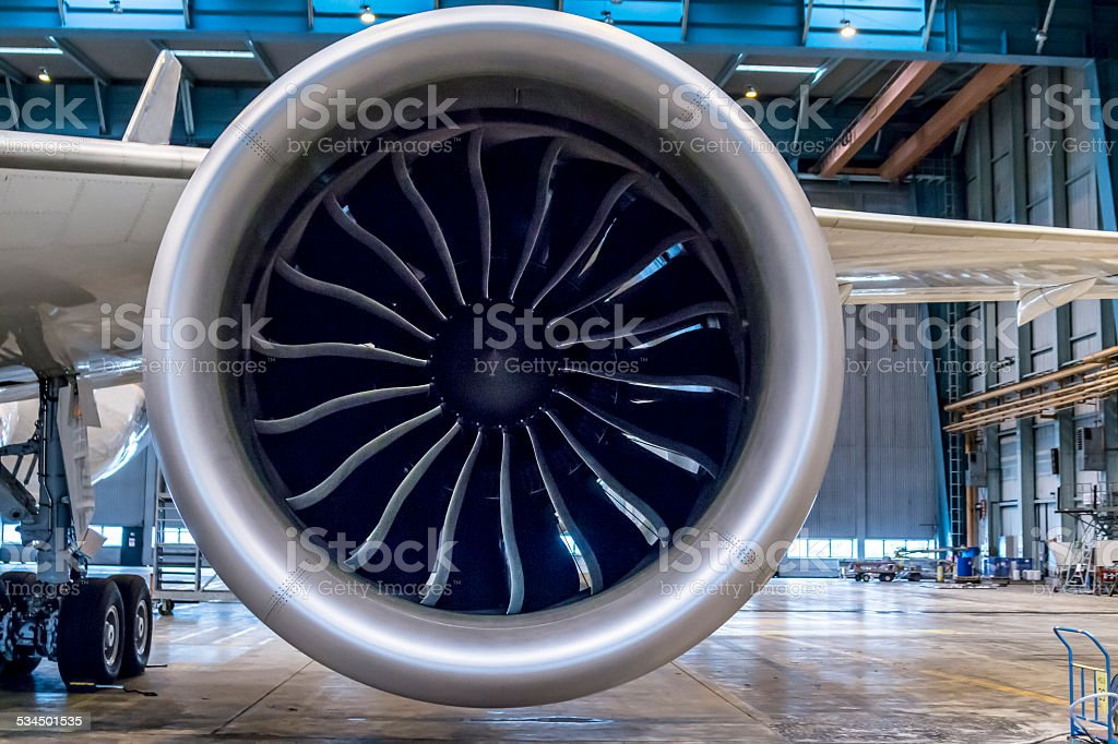 Huge jet engine stock photo