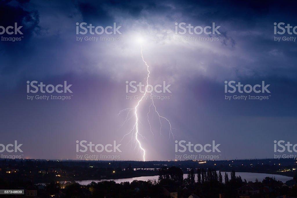 Huge lightning stock photo