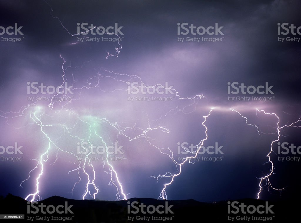 Huge lightning storm over Rocky Mountains Morrison Colorado stock photo