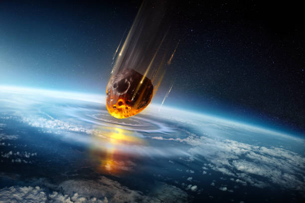 Huge Meteor Slamming Into Our Planets Atmosphere stock photo