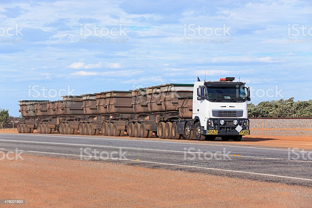 Huge mining road train with 90 tyres stock photo