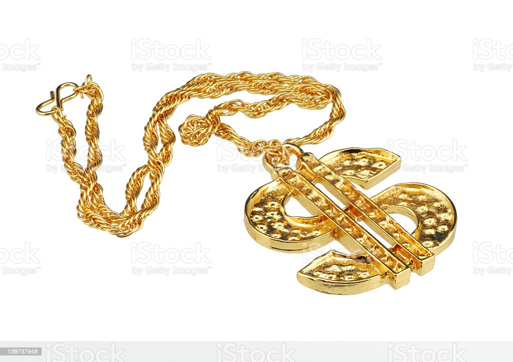 Huge money symbol gold necklace stock photo