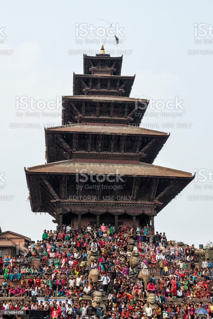 Huge number of public gather at Kathmandu Durbar Square in Kathmandu during the the Nepalese New Year 2073 Festival. stock photo