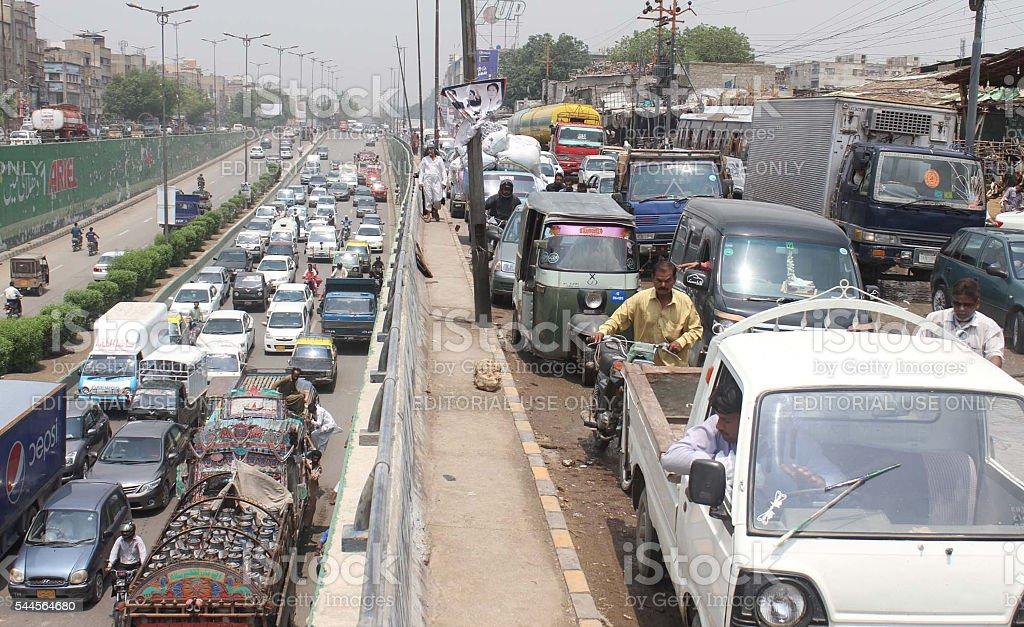 Huge numbers of vehicles stuck stock photo