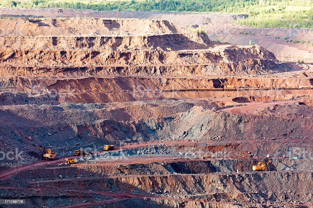 Huge open pit in morning stock photo