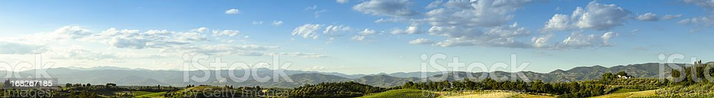 Huge panorama landscape hills in Chianti Region - Tuscany royalty-free stock photo