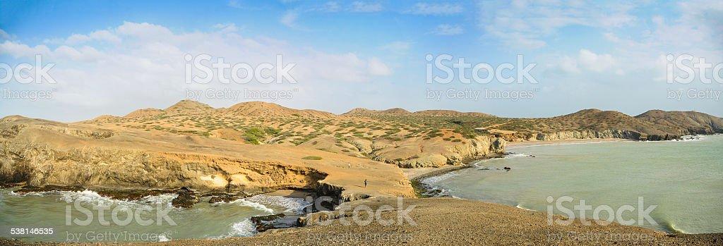 Huge Panoramic View of Guajira Desert at Colombia. Panorama. stock photo