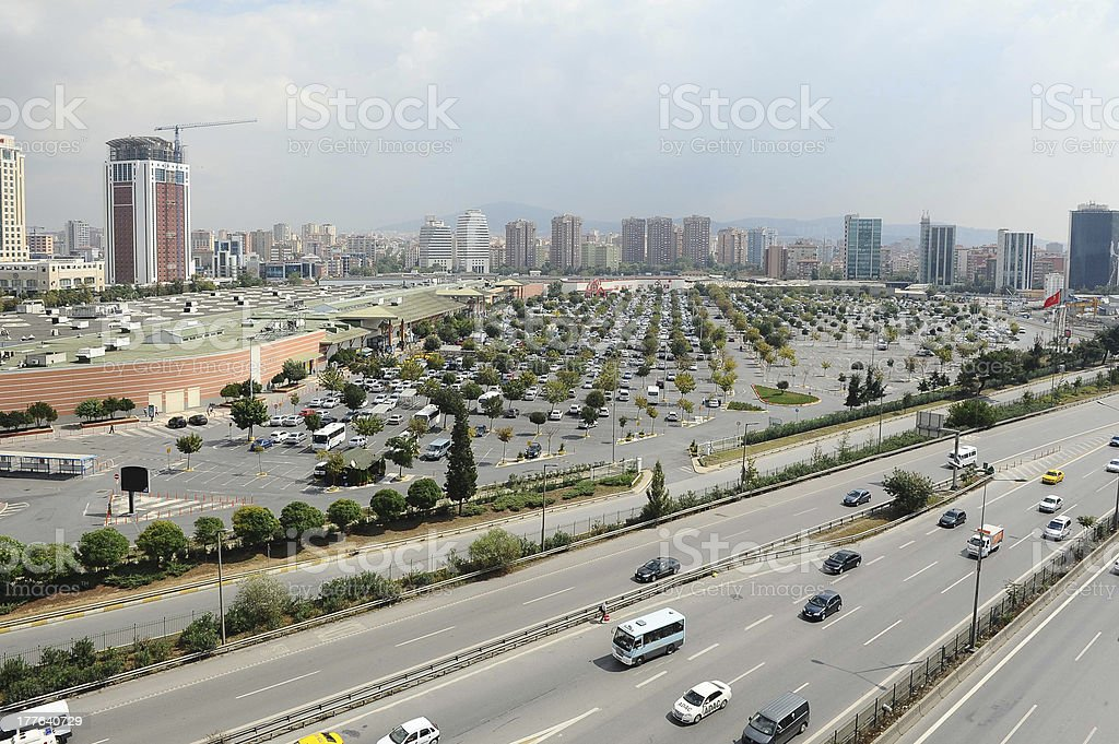 Huge parking lot in the city stock photo