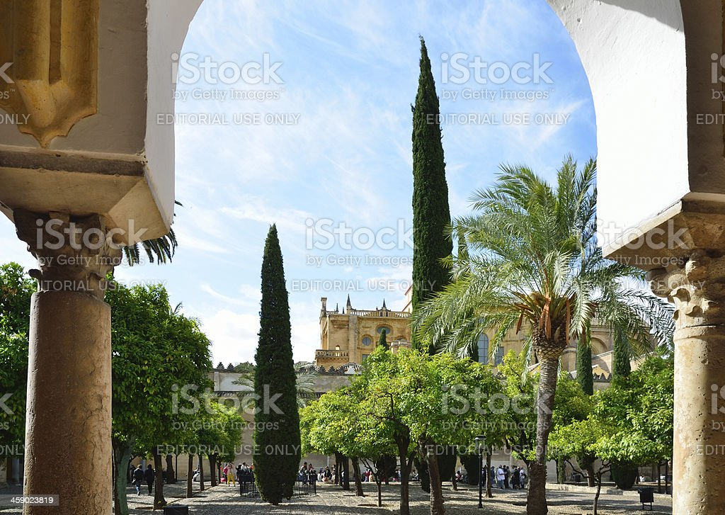 Huge patio of the Mosque-Cathedral in Cordoba royalty-free stock photo
