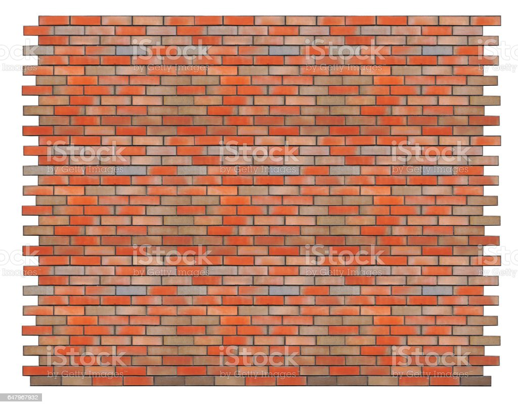 Huge piece of the ideal isolated red brick wall. Collage from from several photos stock photo