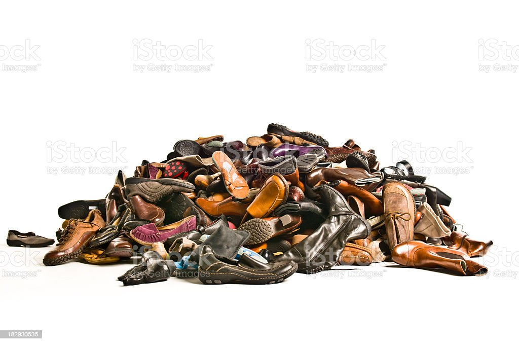 huge pile of new shoes stock photo