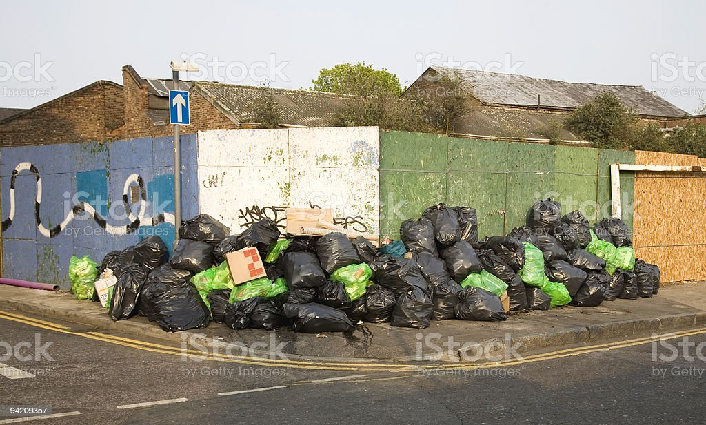 Huge pile of rubbish bags royalty-free stock photo