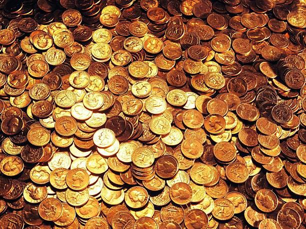 Riesigen Haufen von uns Münzen – Foto
