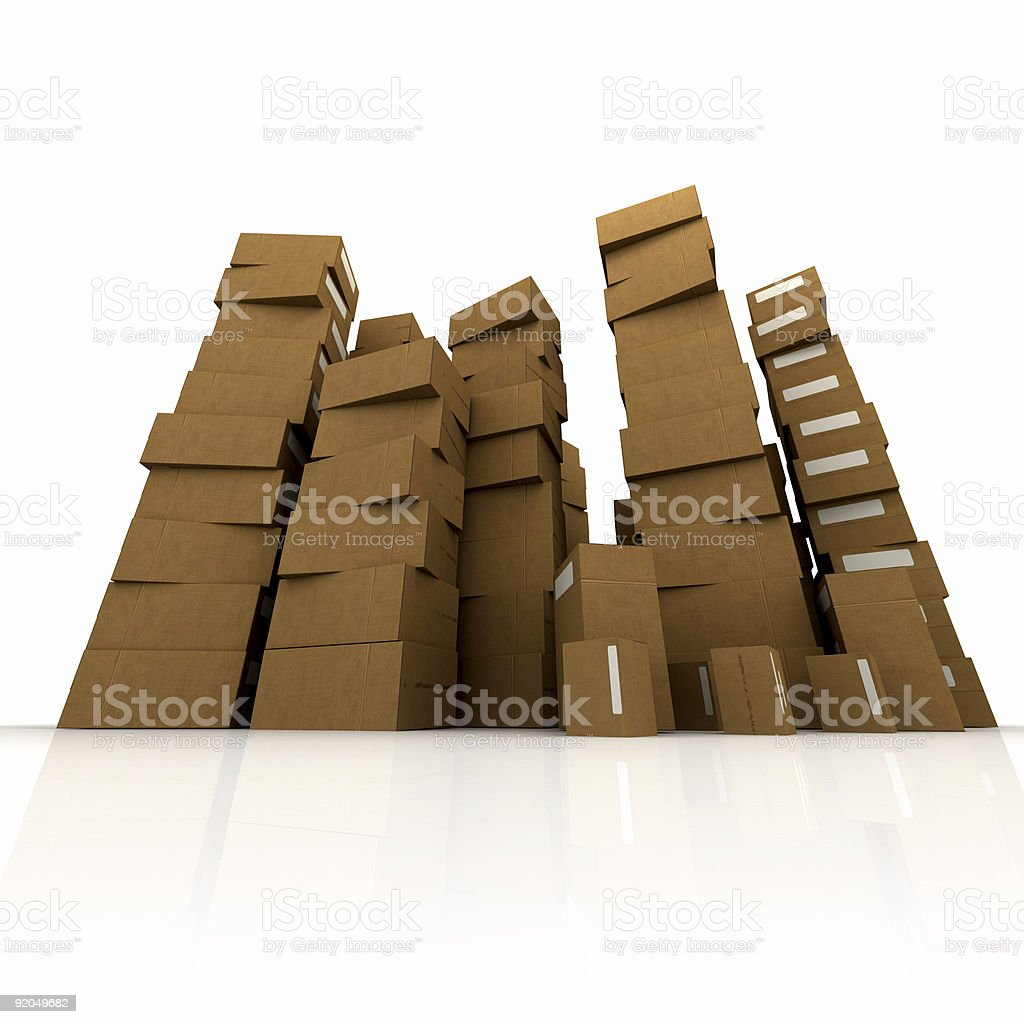 Huge piles of cardboard boxes royalty-free stock photo