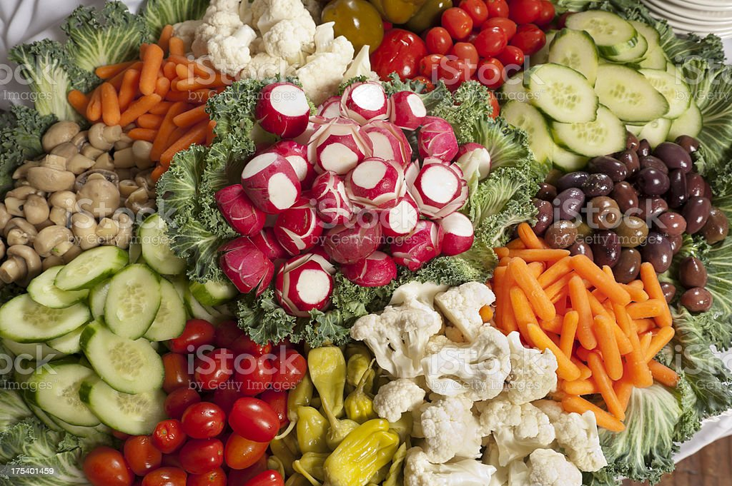 Huge platter of chopped vegetables for appetizers royalty-free stock photo