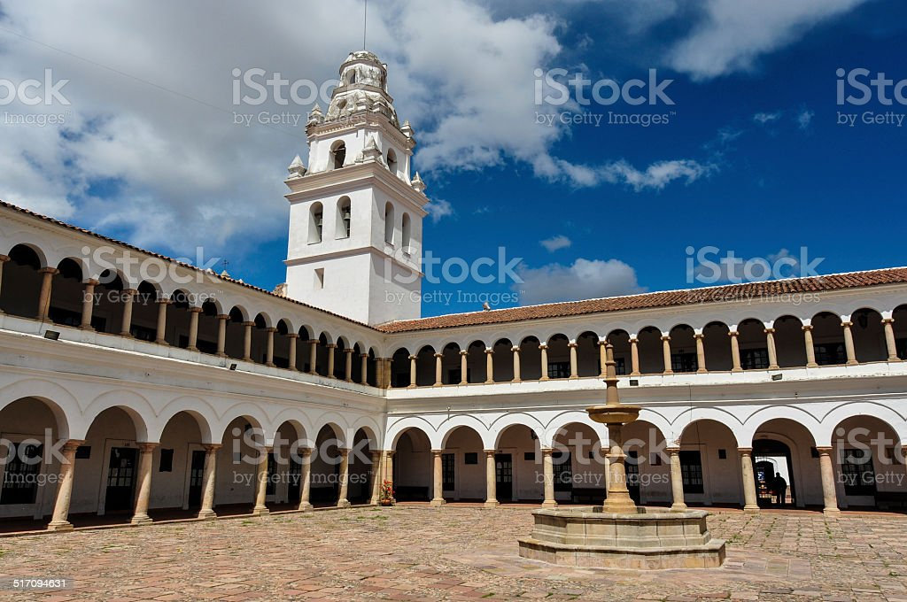 Huge plaza of Sucre, Capital of Bolivia stock photo