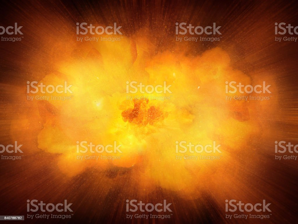 Huge realistic hot dynamic explosion, orange color with sparks and hot smoke royalty-free stock photo