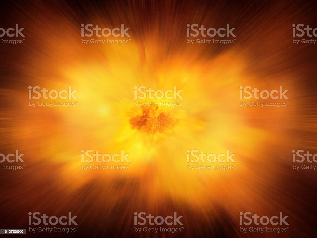 Huge realistic hot dynamic explosion, orange color with sparks and hot smoke stock photo
