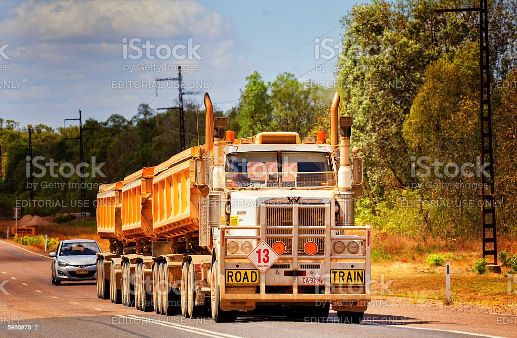 Huge road train in the Australian outback royalty-free stock photo