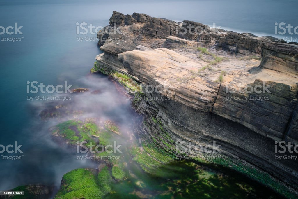 Huge Rock at Chaojing Park in Zhongzheng District, Keelung, Taiwan. stock photo