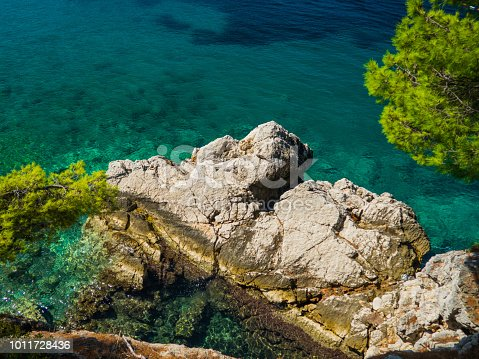 istock Huge rock fragment in the turquoise water with trees around 1011728436