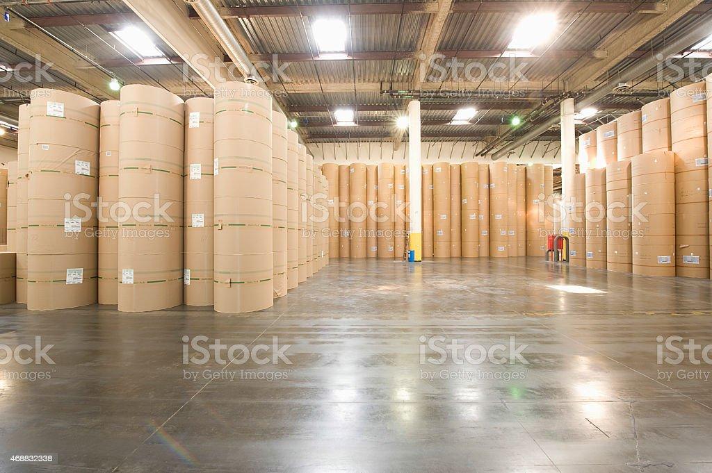 Huge Rolls Of Paper In Newspaper Factory stock photo