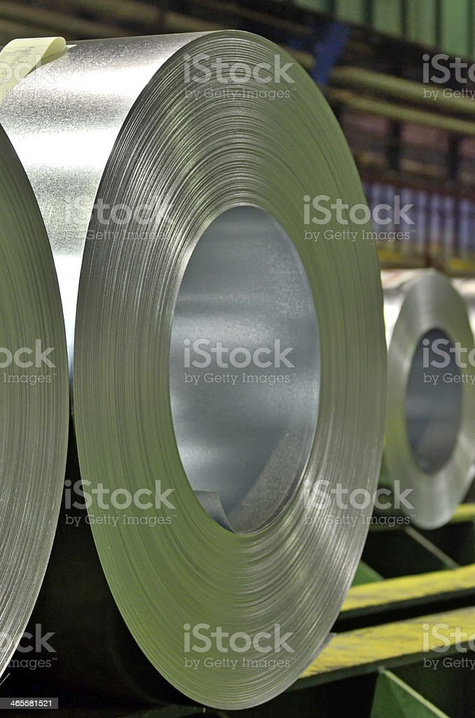 Huge rolls of tinplate galvanized in the factory stock photo