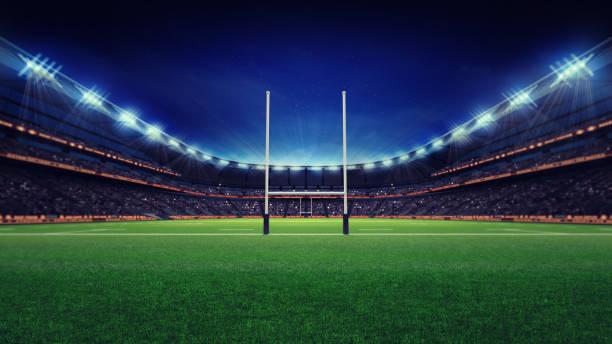 ファンと緑の草の巨大なラグビー スタジアム - ラグビー ストックフォトと画像