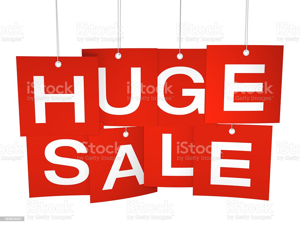 Huge Sale red hanging tags royalty-free stock photo