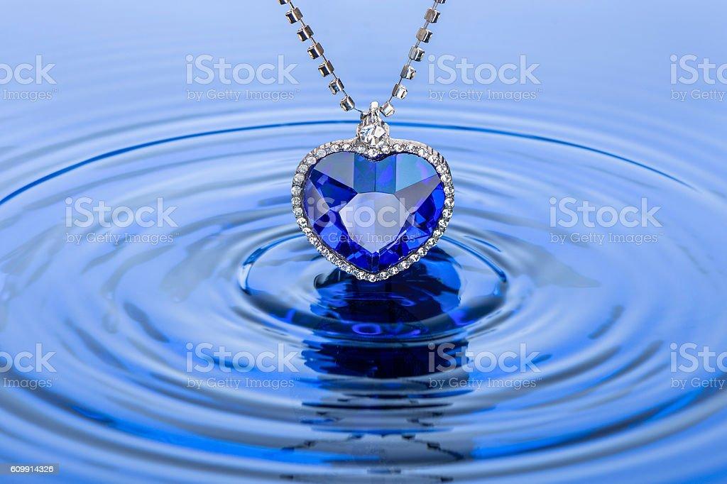 Huge sapphire pendant stock photo