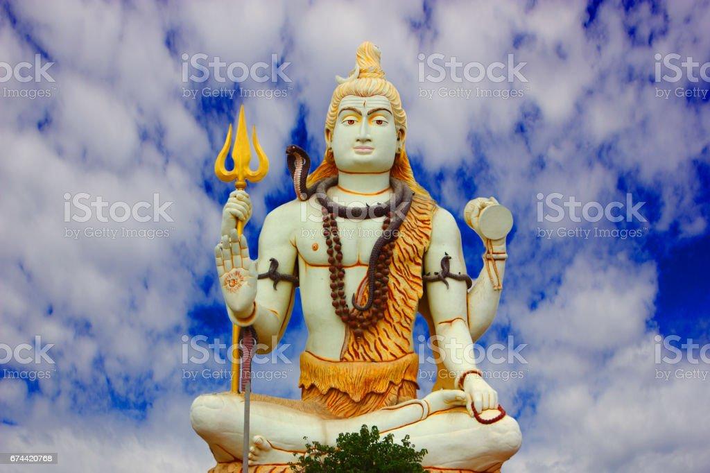 Huge Shiva Statue at Nageshwar Jyotirlinga Temple stock photo